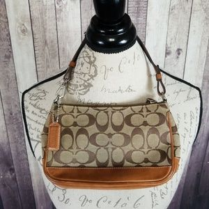 Coach Jacquard Purse in brown canvas & leather
